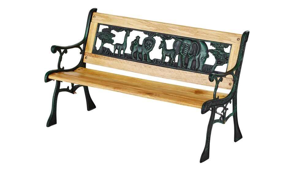 Kinder-Gartenbank aus Hartholz und Kunststoff in Gusseisenoptik, Motiv mit Tieren aus der Savanne Afrikas