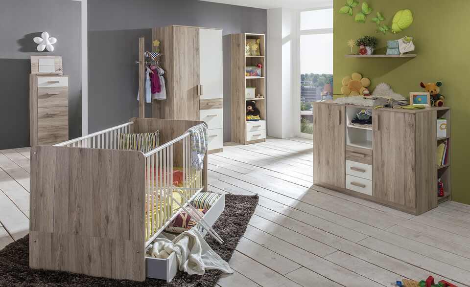 Baby-Komplettzimmer 'Cariba' bestehend aus Babybett, Wickelkommode, Unterstellregal, Bettschubkasten, Kleiderschrank, Standregal und Wandregal