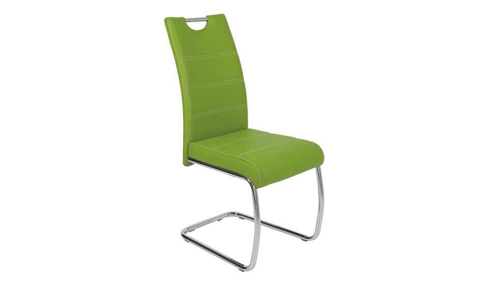 Grüner Schwingstuhl als Esszimmerstuhl