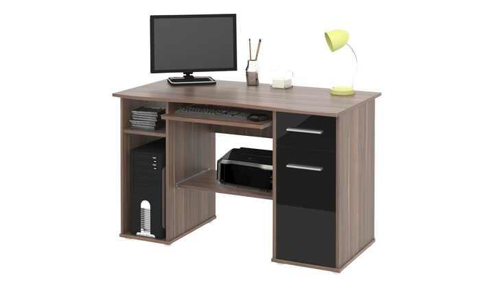 schreibtisch walnuss nachbildung schwarz hochglanz. Black Bedroom Furniture Sets. Home Design Ideas