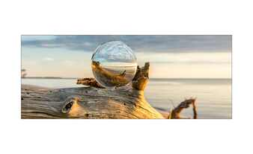 Glasbild 80x30 cm  Drop on Wood