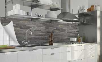 Küchenrückwand-Folie  Fixy Black Bricks