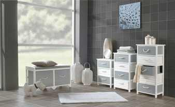 Regal Paulownia Holz/ MDF, weiß/grau matt