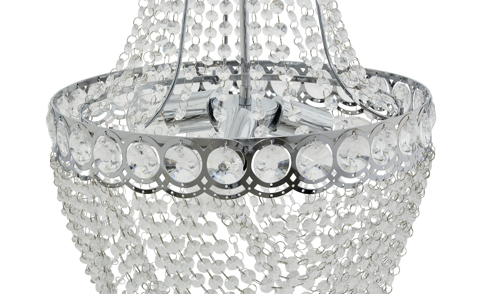 Hängeleuchte mit überreichem Primsenbehang für starke Lichtbrechung