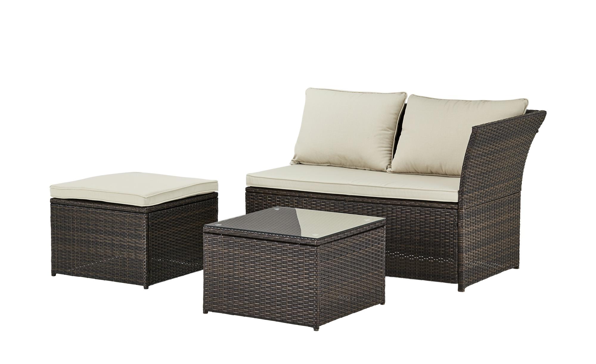 Lounge-Set - braun - Stahl pulverbeschichtet/PE-Geflecht - Sconto