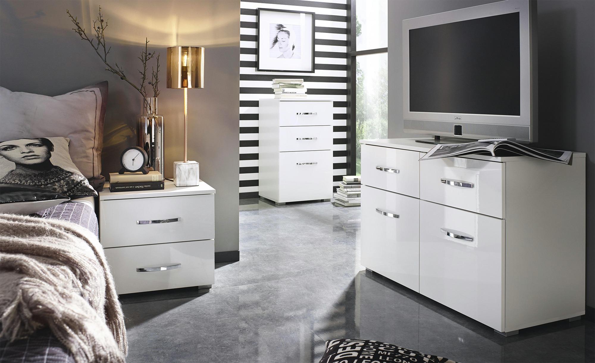 Nachttisch  Aditio - weiß - 47 cm - 62 cm - 42 cm - Sconto   Schlafzimmer > Nachttische   Sconto