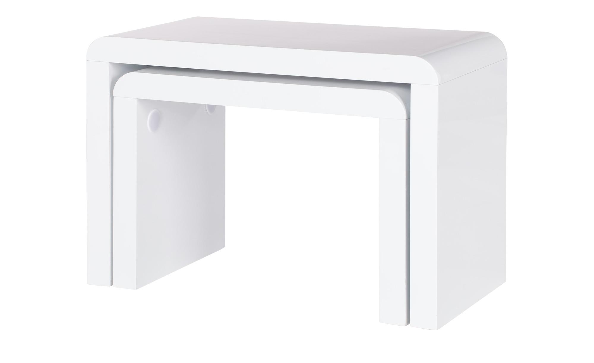 2er-Set Beistelltische - weiß - Sconto