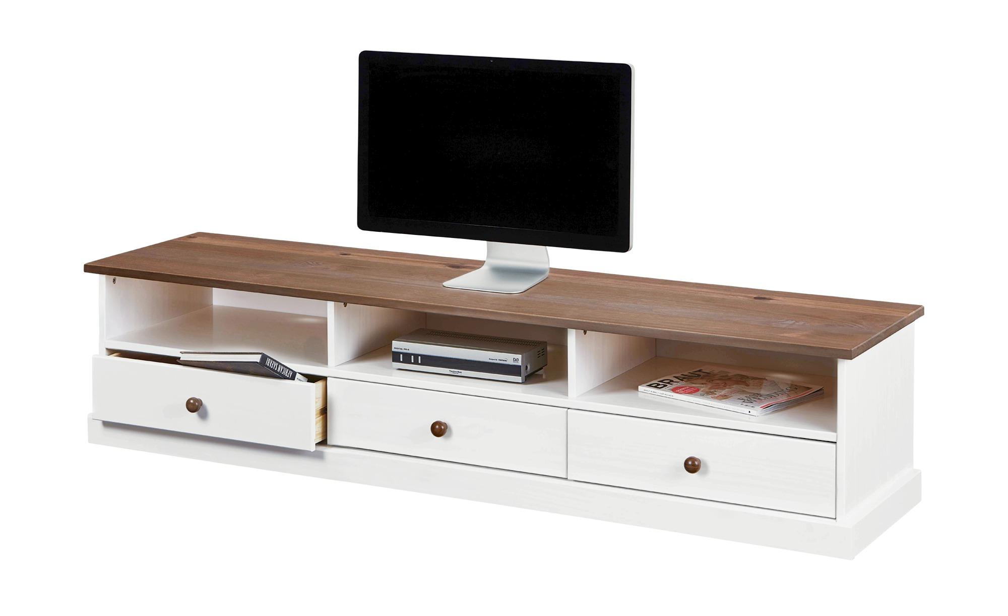 TV-Board - weiß - 180 cm - 41 cm - 45,5 cm - Sconto | Wohnzimmer > TV-HiFi-Möbel > TV-Lowboards | Massiver - Kiefer | Sconto