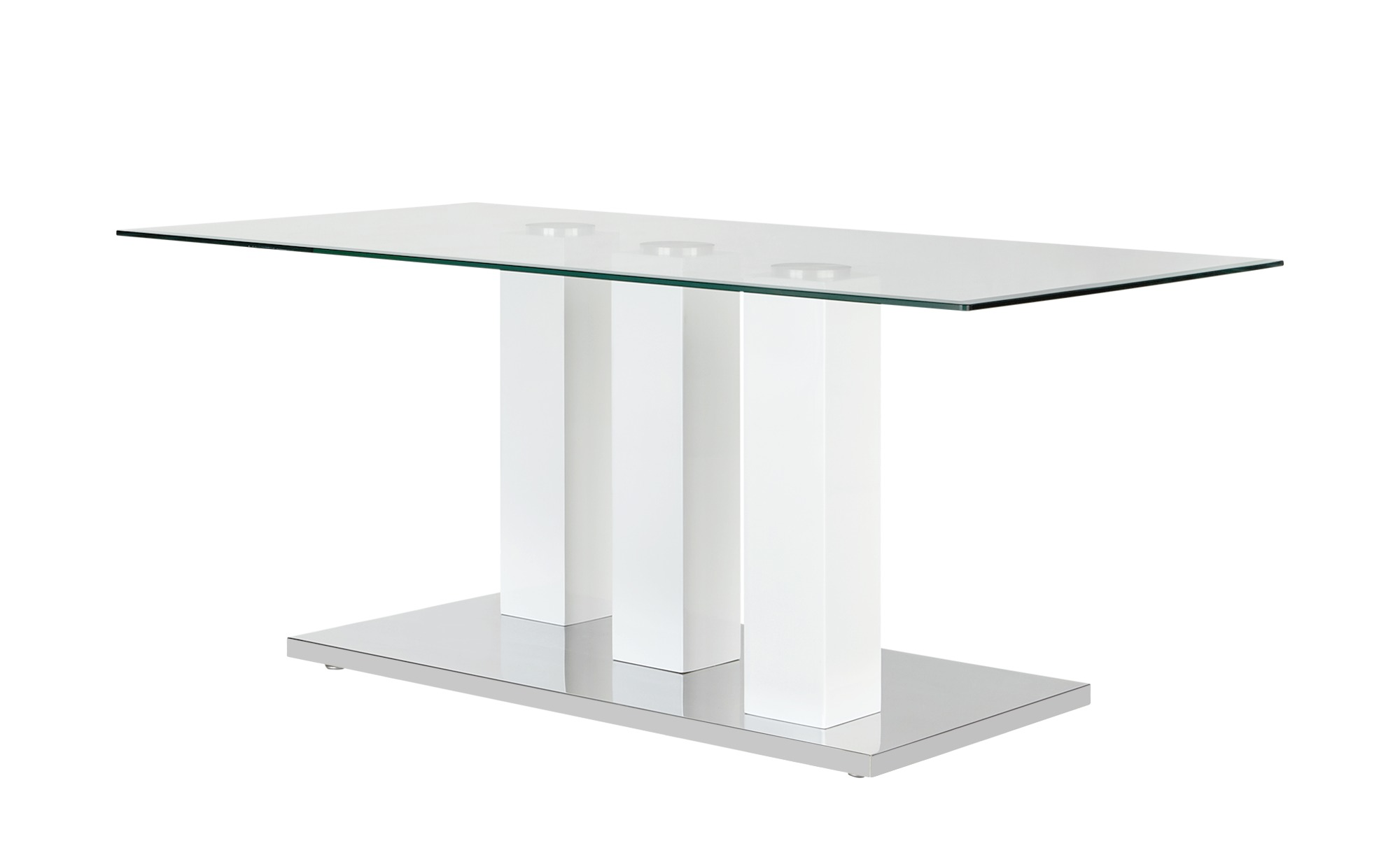 Couchtisch Klar Glas/weiß - weiß - 60 cm - 48 cm - 60 cm - Sconto