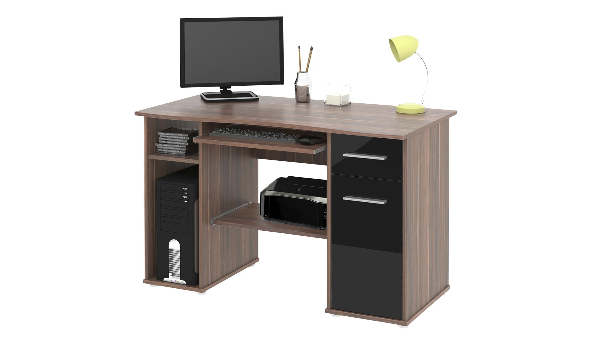 Schreibtisch Walnuss Nachbildung Schwarz Hochglanz Walnuss