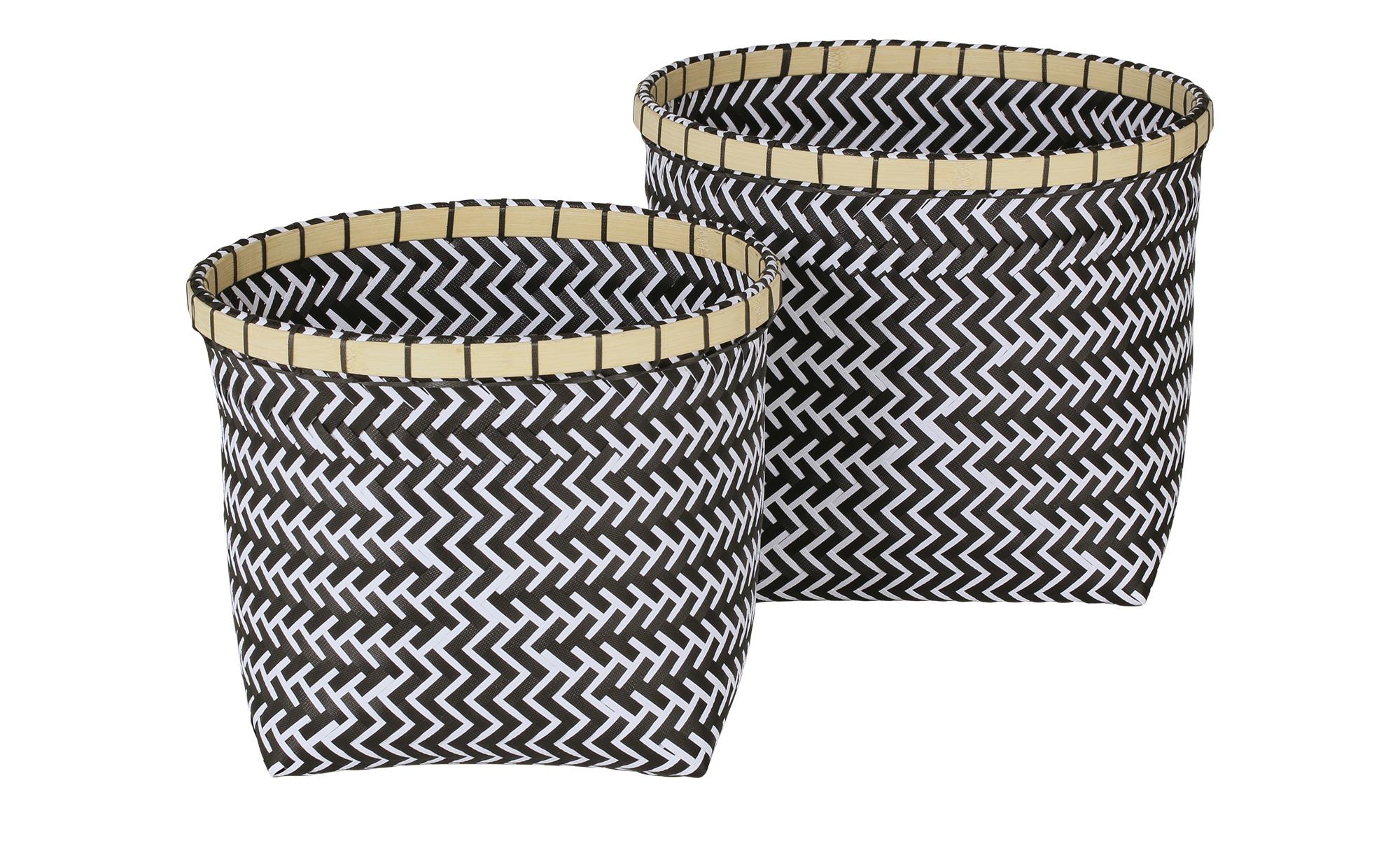2er-Set Aufbewahrungskörbe - grau - Polypropylen, Bambus - 27 cm - Sconto